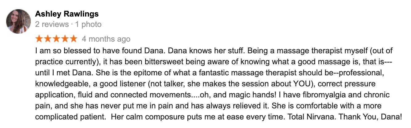 Reiews for Dana G Massage in Boulder